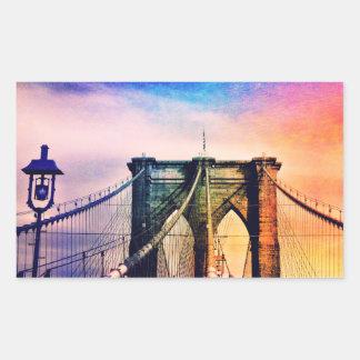 ブルックリン橋-カラフル-ニューヨークシティ 長方形シール