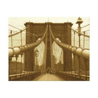 ブルックリン橋-セピア色の調子-キャンバスプリント キャンバスプリント