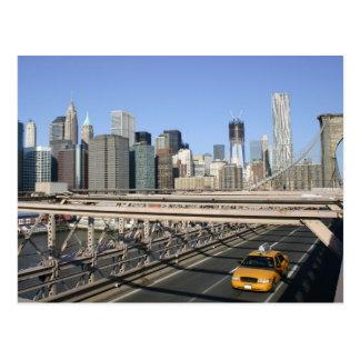 ブルックリン橋、ニューヨークのタクシー ポストカード
