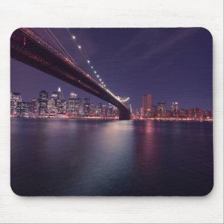 ブルックリン橋、マンハッタンライト、イースト・リバー、NYC マウスパッド