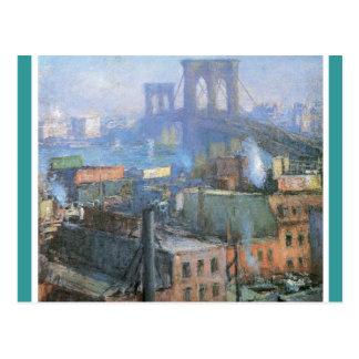 ブルックリン橋、1916年頃イースト・リバー、 ポストカード