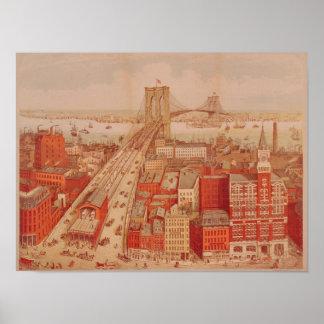 ブルックリン橋、c.1883 ポスター