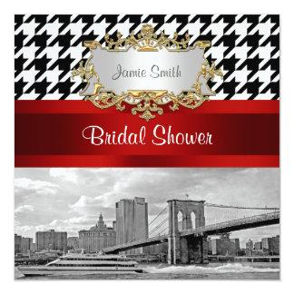 ブルックリン橋Blkの白く千鳥格子のなブライダルシャワー カード