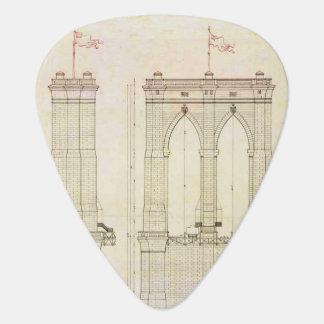 ブルックリン橋NYCの建築の青写真のヴィンテージ ギターピック