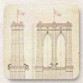 ブルックリン橋NYCの建築の青写真のヴィンテージ コースター