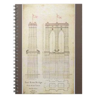 ブルックリン橋NYCの建築の青写真のヴィンテージ ノートブック