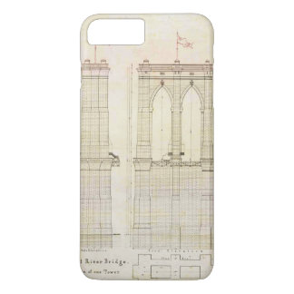 ブルックリン橋NYCの建築の青写真のヴィンテージ iPhone 8 PLUS/7 PLUSケース
