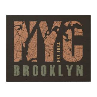 ブルックリン、ニューヨーク|都市地図 ウッドウォールアート