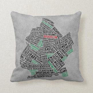 ブルックリンNYCのタイポグラフィの地図のクッション クッション