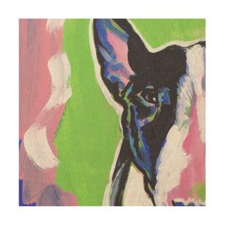 ブルテリアの明るいカラフルの破裂音犬の芸術 ウッドウォールアート