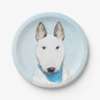 ブルテリアの絵画-かわいい元の犬の芸術 ペーパープレート