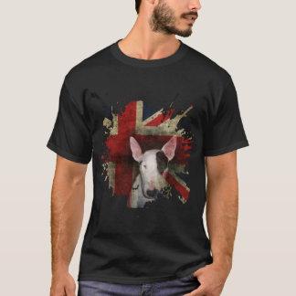 ブルテリアの英国国旗の黒い基本的なTシャツ Tシャツ