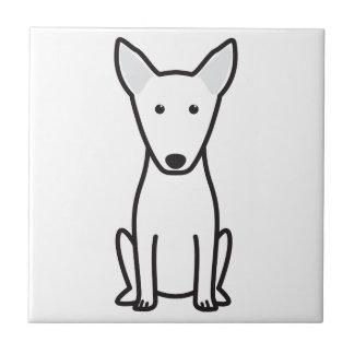 ブルテリア犬の漫画 正方形タイル小