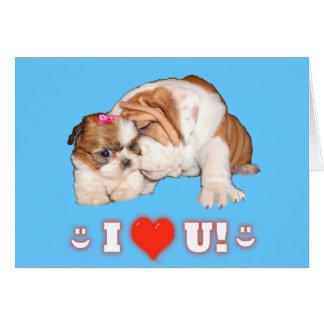 ブルドッグおよびシーズー(犬)のTzu英国のI愛カード カード