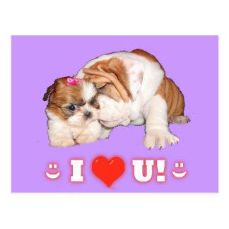 ブルドッグおよびシーズー(犬)のTzu英国のI愛カード ポストカード