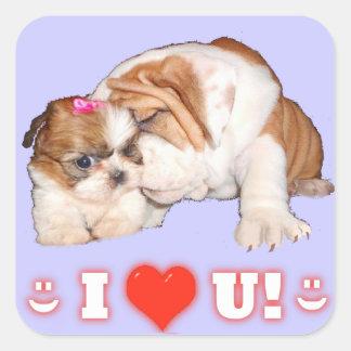 ブルドッグおよびシーズー(犬)のTzu英国のI愛 スクエアシール