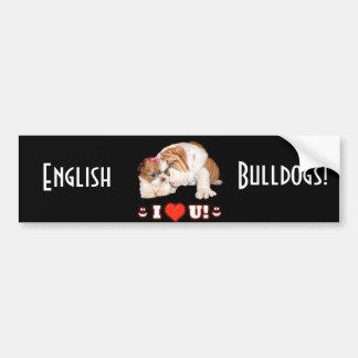 ブルドッグおよびシーズー(犬)のTzu英国のI愛 バンパーステッカー