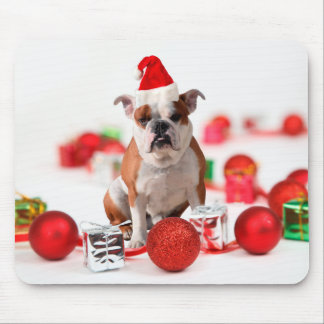ブルドッグのクリスマスのギフト用の箱はサンタの赤い帽子を飾ります マウスパッド