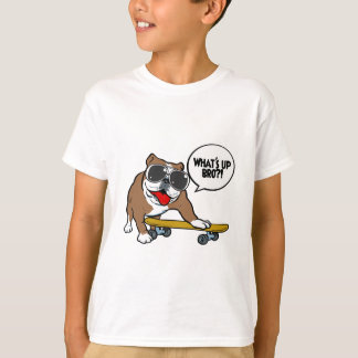 ブルドッグのスケートボーダー Tシャツ