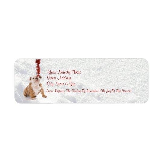 ブルドッグの子犬はそれが雪が降るようにしました!  差出人住所ラベル 返信用宛名ラベル