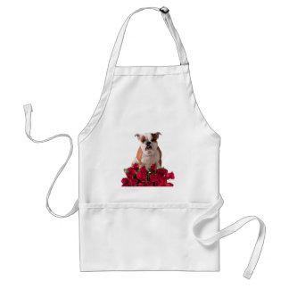 ブルドッグの赤いバラの開花の誕生日記念日 スタンダードエプロン