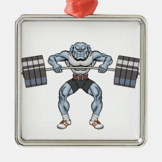 ブルドッグの重量挙げ選手 シルバーカラー正方形オーナメント