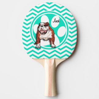 ブルドッグ; 水緑のシェブロン 卓球ラケット