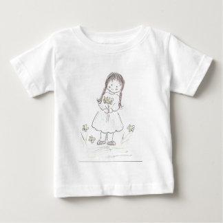 ブルネットのフラワー・ガール ベビーTシャツ