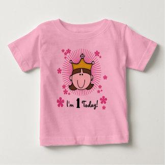 ブルネットのプリンセスの第1誕生日 ベビーTシャツ