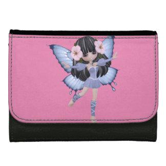 ブルネットの女の子、妖精、蝶、中型の財布 ウォレット