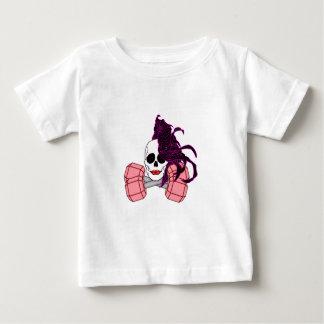 ブルネットの女性のスカル ベビーTシャツ