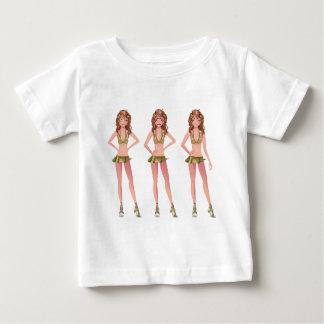 ブルネットの広告宣伝の女の子 ベビーTシャツ