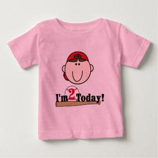 ブルネットの男の子の野球の第2誕生日 ベビーTシャツ