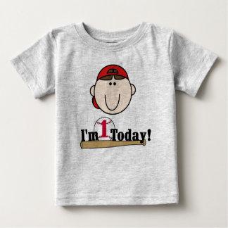 ブルネットの野球の最初誕生日 ベビーTシャツ