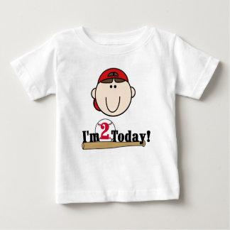 ブルネットの野球の第2誕生日 ベビーTシャツ