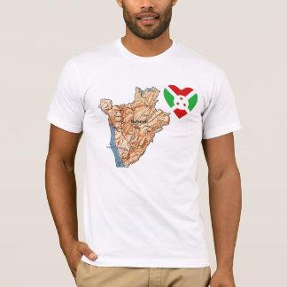ブルンディの旗のハートおよび地図のTシャツ Tシャツ
