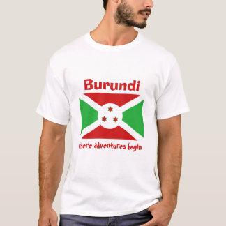 ブルンディの旗 + 地図 + 文字のTシャツ Tシャツ