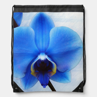 ブルーオーキッドのエキゾチックな花の花柄のヴィンテージ ナップサック