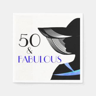 ブルーカラーおよび青い文字を持つ50及びすばらしい女性 スタンダードカクテルナプキン