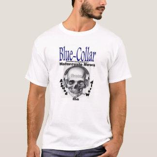ブルーカラーのオートバイのニュースのスカル Tシャツ
