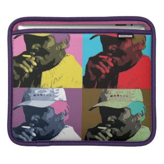 ブルーカラーの人の喫煙-ポップアート iPadスリーブ