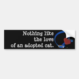 ブルーカラーの赤いハート猫愛 バンパーステッカー