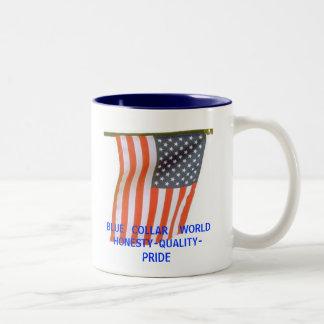 ブルーカラー    WORLDHONESTY-QUALITY-PRIDE ツートーンマグカップ