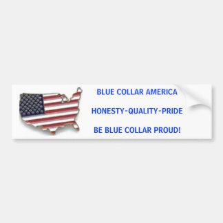 ブルーカラーAMERICAHONESTY-QUALITY-PRIDEBEの青… バンパーステッカー