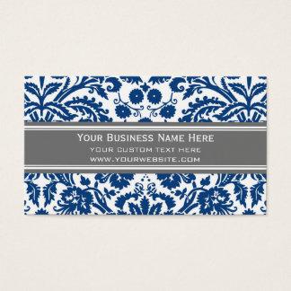 ブルーグレーのダマスク織の花の名刺 名刺