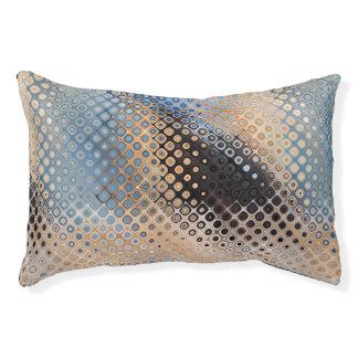 ブルーグレーのベージュガラスドット・パターン犬のベッド