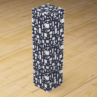 ブルーグレーの白く幾何学的なパターン ワインギフトボックス