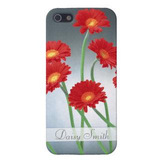 ブルーグレーの背景の赤いガーベラ iPhone SE/5/5sケース