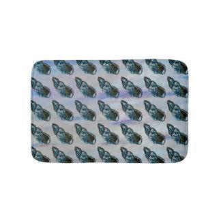 ブルーグレーの貝パターン バスマット