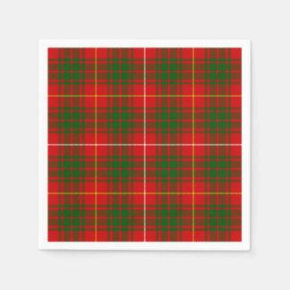 ブルースの一族のタータンチェックの赤い緑の格子縞 スタンダードカクテルナプキン